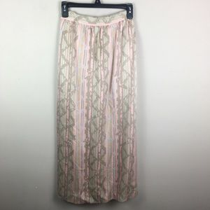Vintage silk striped geometric midi skirt